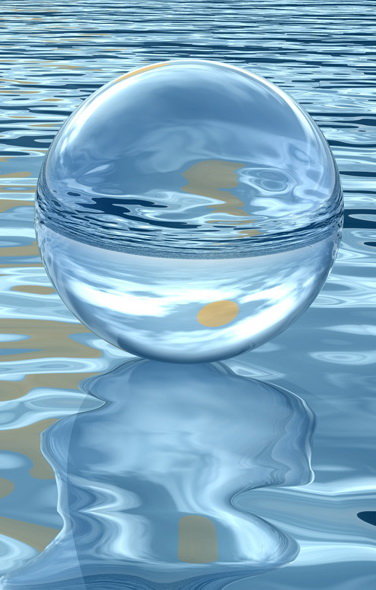 glass sphere on water